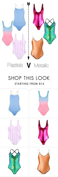 """""""The battle of swimsuits... I refuse to pick a side instead I'll have one of each style thanks"""" by jojoyexleystyle on Polyvore featuring Topshop, Solid & Striped, Boohoo, River Island and Oséree"""