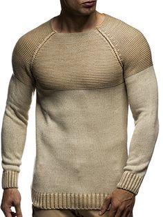 LEIF NELSON Herren Strickpullover Pullover Sweatshirt LN20706; Grš§e L, Beige