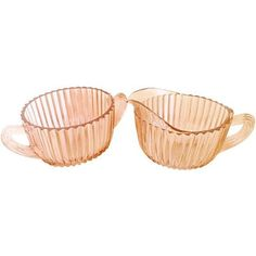Pink Depression Glass Cream and Sugar ($59) ❤ liked on Polyvore featuring home, kitchen & dining and dinnerware