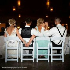 Bride and made of honor groom an best man photo