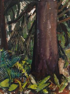 """""""Tree in Forest, BC,"""" Arthur Lismer, oil on board, 16 x private collection. Group Of Seven Artists, Group Of Seven Paintings, Great Paintings, Oil Paintings, Tom Thomson, Emily Carr, Canadian Painters, Canadian Artists, Impressionist Paintings"""