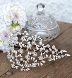 Bridal pearl crystal side tiara vintage от JoannaReedBridal