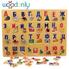 Houten Russische Alfabet Puzzel Board Leren Educatief Speelgoed Baby Kids Toys Building Gratis Verzending Montessori Speelgoed