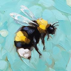 Original Fine Art Inspired by Nature and Color by LaveryART - Browse unique items from LaveryART on Etsy, a global marketplace for handmade, vintage and creative - Bee Painting, Painting & Drawing, Afrique Art, Posca Art, Art Watercolor, Mini Canvas Art, Guache, Bee Art, Animal Paintings