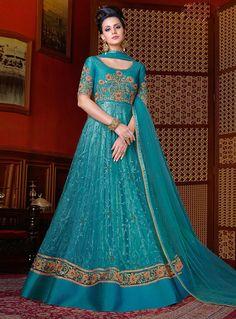 Teal Net Floor Length Anarkali Suit 108278