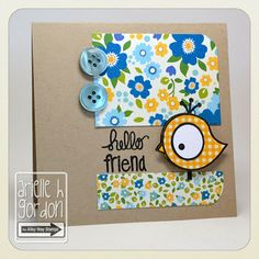 Snappy Stampin' w/ Arielle: HELLO FRIEND / RS #65... TAWS/ The Alley Way Stamps - Set(s): Bird Brain, Doodle Frames & Monster Madness