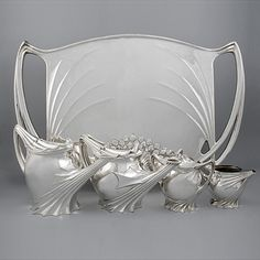 French Art Nouveau Silver Tea Service by Follot