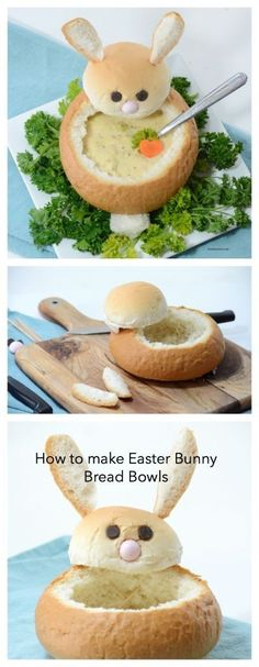 Easter | Make these creative DIY Easter Bunny Bread Bowls. Perfect for your Easter Dinner and a great way to make a fun Easter Table. Step-by-step tutorial. by sheena