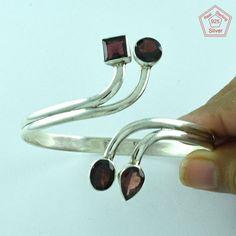 Prestige's Design 925 Sterling Silver Garnet Stone Bangle P3346…