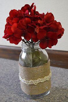 flower jars w/ burlap