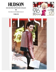 Mad Men it girl, Jessica Parè is taking on the world of fashion in the September Issue of Vogue wearing our style staple, the Hudson Jeans Nico in Black. Shop your #Hudson Favorites at Halo Boutique in Downtown Colorado Springs  What is your Denim Staple Style?