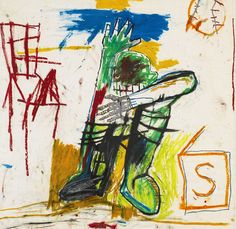 Jean-Michel Basquiat, Untitled, signed on the reverse, acrylic and oilstick on paper mounted to fiberglass, 46 by 45 in. 118 by 115 cm. Jean Michel Basquiat, Jm Basquiat, Guernica, Andy Warhol, Thing 1, Art Store, American Artists, Les Oeuvres, Wrapped Canvas