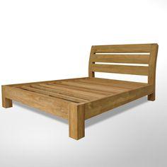 Cannisse Archiform teak bed  Curved backward slats headboard bed, made of reclaimed teak, wooden slats mattress support.  $299