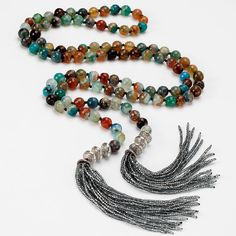 Lariat Tassel Necklace with Agate Stones and Silver by katandbear, $165.00