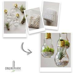 Biraz çakıl taşı, ip, birkaç ampül ve yapay bitkilerle odalarınıza sıcaklık katacak dekoratif objeler elde edebilirsiniz...  #kendinyap