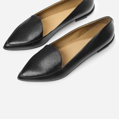 """Make your point in these refined flats  100% full-grain Italian leather Smooth leather on the body of the shoe is complemented by textured leather on the upper inset Crescent-shaped tongue lends a feminine touch ¾"""" stacked leather heel, with contrast rubber for durability"""