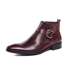 76.50$  Buy here - http://aliy6v.worldwells.pw/go.php?t=32749703599 - New Fashion  High Quality Black /Red Wine Breathable Zip Genuine Leather Pointed Toe Oxford Boots For Men 76.50$