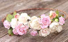 Blush Wedding Flower White Hair Crown Boho Wedding Headpiece