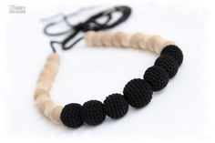 Classic Black Little Breastfeeding necklace. Teething/Nursing neclace for mom. Crochet sling necklace.