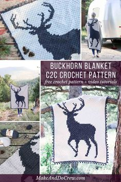 This corner to corner crochet buck graphgan is perfect for Christmas, a rustic baby nursery or as a gift for your favorite hunter. Free afghan pattern and video tutorials. Crochet Afghans, Crochet C2c Pattern, C2c Crochet Blanket, Crochet Gratis, Afghan Crochet Patterns, Free Crochet, Knitting Patterns, Free Pattern, Crochet Blankets