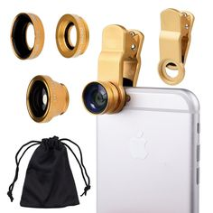 set of attachable lenses to take fish eye, wide lens, and macro photos.