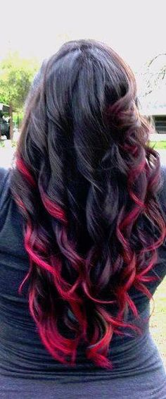 Black Hair with Red Tips | love this bright colored hair for summer.#vertigosalon #losangeles # ...