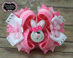 Easter Hair Bows- Light Pink and Hot Pink Easter Bunny Hair Bows with Clay Bunny Center and Flower Accents.
