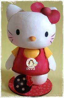 Vivendo em EVA: HELLO KITTY 3D EM EVA - PARTE 2 - CORPO Scrapbook, Fictional Characters, Pasta Flexible, 3d, Biscuits, Play, Ideas, Hello Kitty Favors, Handmade Crafts