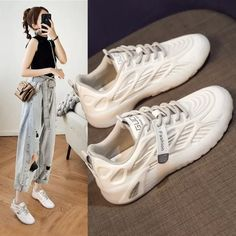 Women's Shoes 2021 New Autumn Mesh Breathable Sneakers Soft Sole Sports Casual Running Shoes Sneaker Outfits Women, Sneaker Brands, Sport Casual, Women's Shoes, Running Shoes, Mesh, Lace Up, Autumn, Clothes For Women