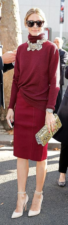 Olivia Palermo in a burgundy turtleneck.