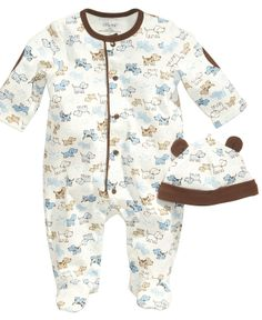 Little Me Baby Set, Baby Boys Cute Puppies 2-Piece Hat and Footed Coveralls - Kids Baby Boy (0-24 months) - Macy's