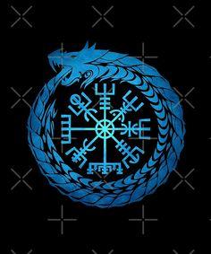 Hugin Munin Tattoo, Jormungandr Tattoo, Fenrir Tattoo, Ouroboros Tattoo, Viking Compass Tattoo, Runic Compass, Viking Tattoos, Arte Viking, Viking Art