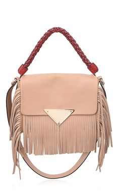 This medium shoulder bag by **Sara Battaglia** is rendered in amber calf leather and features a woven top handle, gold tone hardware and long fringe detailing. Fall-Winter 2015 (=)
