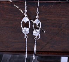73x11mm Sterling Silver Jewellery Charming Genuine Dangle China Earrings