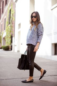 Song of Style in leather pants, grey knit, flats and sunglasses Holiday Outfits, Fall Winter Outfits, Autumn Winter Fashion, Leather Skinny Jeans, Leather Pants, Song Of Style, My Style, Sweater Weather, Casual Chic