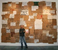 """For 21 years, Willie Baronet has purchased and collected hundreds of signs from homeless people. Now he's turning them into works of art. """"I know this makes some people uncomfortable,"""" Baronet said. """"Sometimes I like creating art that furthers that. Baronet, Homeless People, Political Art, Faith In Humanity Restored, Museum, Picture Day, Helping The Homeless, Art Plastique, Installation Art"""