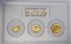 2016 W Gold Dime, Quarter & Half First Strike Centennial 3 Coin Set PCGS SP70