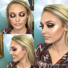 Boudoir makeup by VP Smokey eye, spotlight eye, gold glitter, glowing skin