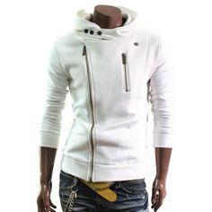 Doublju Mens Casual Rider Hood Jacket (RIDERHOOD) : Jackets & Coats