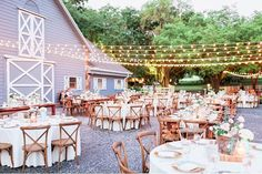Some twinkling lights and our French Country Chairs were the perfect way to add a little extra oomph to the Lange Farm. Many thanks to Andi Mans for the photo, as well as Kaleidoscope Event Lighting, Blush by Brandee Gaar and CDC Floral.