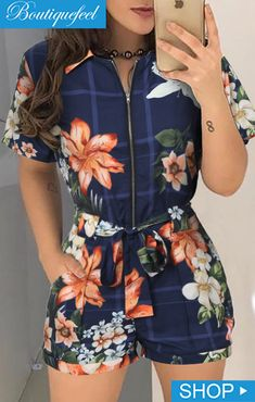 Floral Print Zipper Design Casual Romper – bodyconest With a clever combination of floral print, zipper and short sleeve, this printed romper is perfect for casual occasions in summer. romper and tights,romper casual,romper style Rompers Women, Jumpsuits For Women, Women's Rompers, Trendy Outfits, Fashion Outfits, Fashion Hats, Summer Outfits, Trend Fashion, Latest Fashion