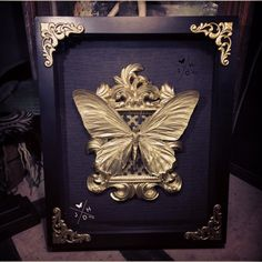 """to celebrate my 1000th piece on etsy i created this one of a kind black and gold piece containing a Large Gold Troides Helena Manus Female Birdwing in an 8x10"""" ornate shadow box **this will be the only one of its kind i will make** SOLD OUT"""