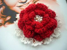 Crochet Red Cashmere and White Cotton Flower by CraftsbySigita,