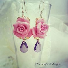 rose earrings with teardrop gems