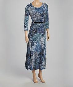Look at this #zulilyfind! Blue Peacock Belted Maxi Dress by Nina Leonard #zulilyfinds