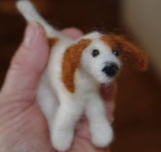 white needle felted dog with brown patches by MaryLQuilts on Etsy