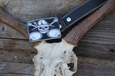 Skull & Banjos buckle with universal snap belt by BuckleMeBlues, $30.00