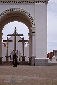 Courtyard of Copacabana Cathedral, Lake Titicaca, Bolivia. Our Lady of Copacabana is the patron saint of Bolivia. (V)