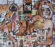 Blote vrouw collage uit 2006 is door mij gemaakt met afbeeldingen uit tijdschriften. Later bewerkt met acrylverf op een doek van 50 x 60 cm. Ik werd hiervoor geïnspireerd