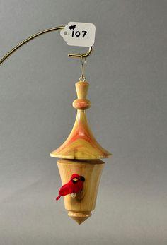 Ornament ceramic mini bird house with bell inside